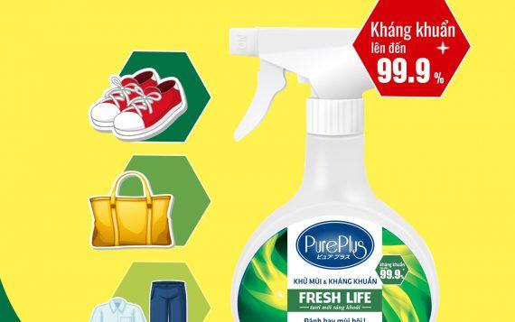 Xịt khử mùi Pure Plus với tính năng khuẩn lên đến 99.9%